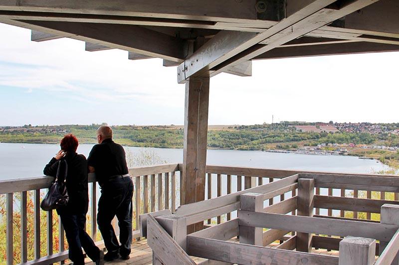 Ausblick vom Aussichtsturm am Westufer des Geiseltalsees